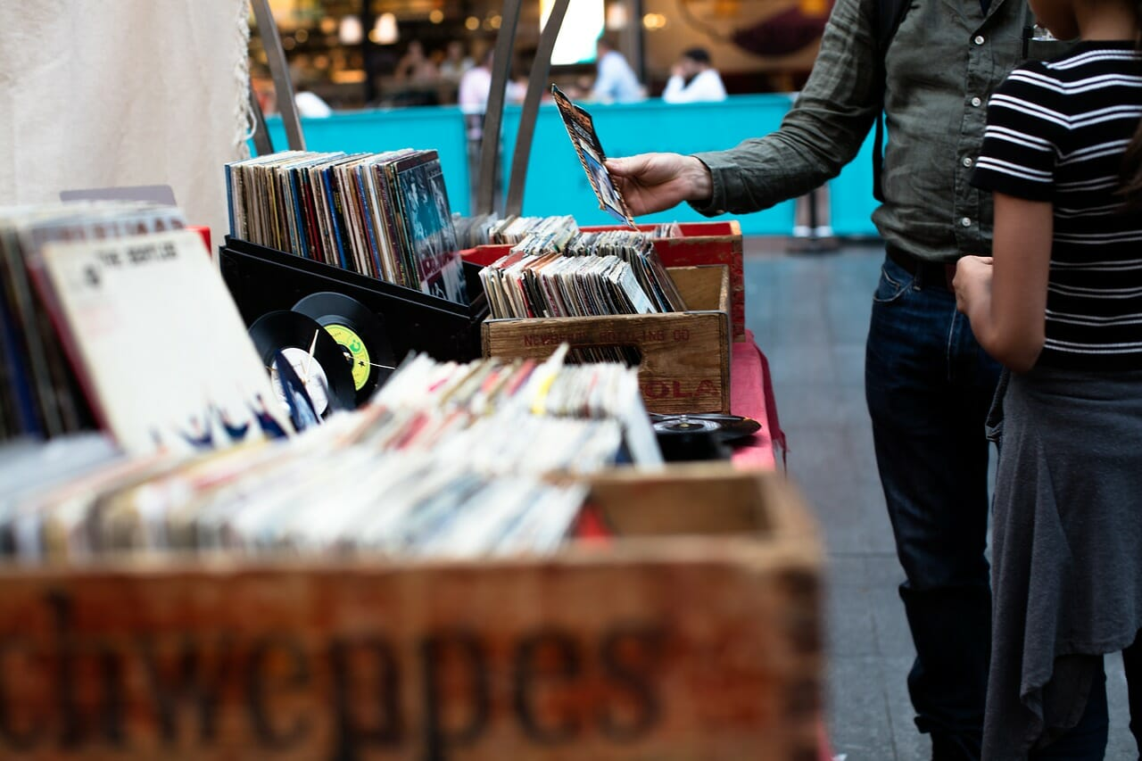 Person looking for music in a record store